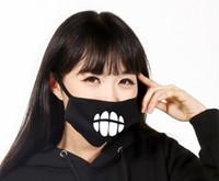 Wholesale Luminous Masks - Black Luminous Face Mask Skeleton Riding Couple Anti Dust Fashion Personality Teeth Glow Mouth Mask LLFA