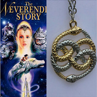 Wholesale Never Ending Story - Wholesale-2015 Free Shipping Wholesale The Never Ending Story Dual Snakes Mixed Auryn Gold&Silver Pandemonium Chain Necklace Cosplay Gift