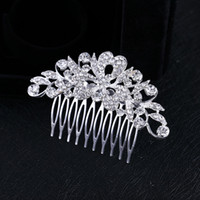 Wholesale Wedding Rhinestone Comb Wholesale - 2017 Rushed Sale New Woman's Crystal Silver Plated Heart Petal Flowers Bling Hair Comb Tiara Prom Wedding Accessories