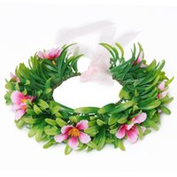 Wholesale Plastic Floral Grasses - Moana Girls Garland Kids Cartoon Head Accessories Children Adult Flower Ring Adjustable Size DHL Free Shipping