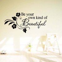Wholesale Wall Decals Green Vines - Be Your Own Kind Of Beautiful Flower Vine Removable Wall Quotes Decals Bedroom Sitting Room Stickers Decor Art