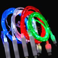 Wholesale El Usb - Visible Flowing Led Luminous EL Light Micro V8 type c usb data sync charger cable for samsung s6 s7 edge S8 note 8 htc android phone 7 8 x