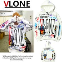 Wholesale graffiti clothing brands online - High Quality white VLONE Version Brand Clothing Hoodies Men Fashion Warm Fleece Outerwear Coats Skateboard graffiti Hooded Sweatshirts