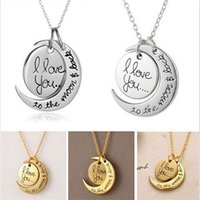 Cheap I Love You To The Moon and Back Pingente Colar Chunky Choker Statement Chain Hot Luxury Pendants Colares NB