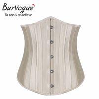 Wholesale Modal Corset - Burvogue Satin 24 Steel Bone corset Woman Waist Trainer Sexy Waist Training underbust Corsets & Bustiers Black Waist Cincher Corselet