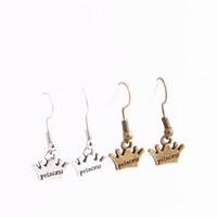Wholesale Antique Bronze Charms Crown - 20pcs lot Metal Alloy Zinc Antique Bronze Silver Princess Crown Pendant Charm Drop Earing Diy Jewelry Making C0683