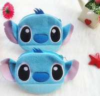 Wholesale Hobo Wholesalers - Wholesale- Kawaii 1Piece Lilo Stitch Girl Lady's Plush Cotton Hand Coin Purse BAG ; Pocket Wallet Pouch ; Key Wallet Hand BAG