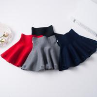 Wholesale Kids Girl Wool Dress - Girls Crochet Knit Skirts Baby Girl Fashion Ball Dress Kids Girl Autumn Ruffles Skirts 2017 Kids Baby Clothing