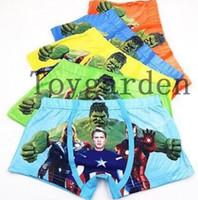boxer niños al por mayor-Venda al por mayor las últimas 10 piezas del capitán Hulk Ropa interior para niños Boxer pantalones cortos para niños regalos