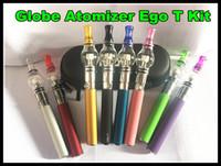 Wholesale Ego Smoke Battery - Glass Globe Atomizer EGo T Wax Dry Herb vaporizer ego e cigarette pen glass dome vaporizer pen ego-T battery smoking starter kit