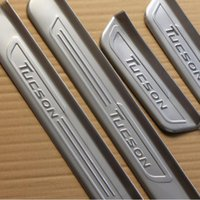 Wholesale Car Door Sills - For Hyundai TUCSON 2015-2016 4pcs set DIY Threshold of Article Cover Case 3M Stickers Stainless steel Car door sill Scuff Plate
