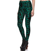 Wholesale NEW Arrival Sexy Girl Women Green Leopard print Dot Spot Prints Running Elastic GYM Fitness Sport Leggings Yoga Pants