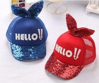 "Wholesale Kids Hip Hop Accessories - New girl Letter ""Hello"" rubbit ears Hat Bling paillette stage props baseball cap kids relaxtion hat joker fashion Hip-hop peaked cap"