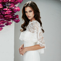 Wholesale Ivory Bolero Wedding Dresses - modest Wedding Lace Bolero Wedding Jacket Bridal Wraps Wedding Accessories White or Ivory Cropped Wrap Shrug for Evening Dress