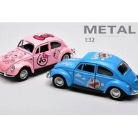 Wholesale Cartoon Pull Back Car - 1:32 VW Classical Cartoon Car Diecast Metal Alloy Cars Toy Pull Back Car As Gift For Kids