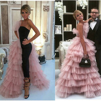 Wholesale Pink Layered Prom Gown - New Fashion Mermaid Prom Dresses With Overskirt One Side Layered Tulle Celebrity Evening Gowns Handmade Formal Women Wear Party Dress