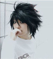 Wholesale Death Note Cosplay Wigs - 100% Brand New High Quality Fashion Picture full lace wigs>Hot Sell! Popular Death Note L Black Short Stylish Anime Cosplay Wig