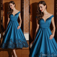 Wholesale Stylish Sleeveless Jackets - 2017 Stylish Lace Appliqued Short Prom Dresses Off Shoulder Sleeveless A-Line Party Dress Tea Length Sequined Satin Formal Evening Gowns