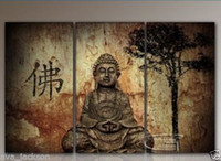 Wholesale Buddha Oil - Set of 3PCS Buddha,genuine Hand Painted Contemporary Abstract Wall Decor Art Oil Painting. Multi sizes Framed Available 8hk