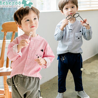 Wholesale Red Top Beer - New 2017 Korean Boys Outfits Clothing Casual Sets Suits Beer Shirt Tops + Pants Children Clothes 2piece Set Casual Suit Blue Red A6014