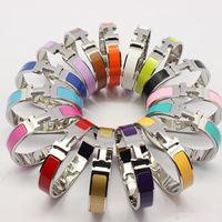 Wholesale Ladies Wristbands - Wholesale titanium steel 12mm H bracelet Enamel jewelry Fashion lady love bangle wristband H Buckle silver woman couple gift with box