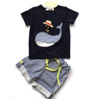 Wholesale Boy Cothes - EuropeStyle 2017 new summer children suit baby cothes pure cotton printing carton short sleeve T-shirt+ stripe shorts 2pcs B4749