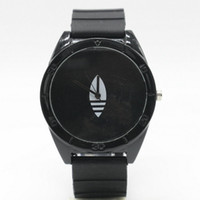 Wholesale Ad Pin - Fashion Women Men's Unisex 3 Leaves leaf style Silicone Strap Analog Quartz Wrist watch AD