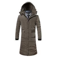 Wholesale Long Jackets Hood For Man - Wholesale- 2016 New Russia winter thick jacket Long Slim for men coat Windproof men warm mens zipper long Parkas with hood Plus Size 3XL