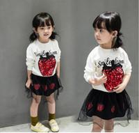 Wholesale Strawberry Cotton Shirts - 2017 Girls Spring Long Sleeve Strawberry T-shirt Dress sets Korean style Girls fashions Kids dresses Baby Kids clothes Girl clothing HM 029