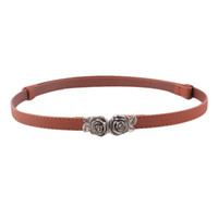 Vente en gros- Newly Design Women Girls Mode Slim Faux Leather Band Rose Flowers Hook Buckle Ceinture Ceinture 160630