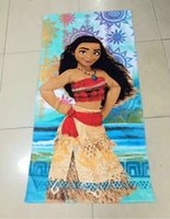 Wholesale Wholesale Robes For Girls - Moana Beach Towels Boys Girls Cotton 72*146cm Cartoon Pattern Bath Towel Kids Cartoon Printed Towels For Swimming Best Gfits Free Shipping
