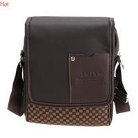 Wholesale Male Leather Briefcase - 2017 Hot Work Mens Messenger Bags Leather Briefcase Vintage Male Handbag Plaid Business Man Crossbody Bag Black Brown Wholesale SV004504