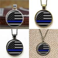 chaveiro da bandeira venda por atacado-10 pcs Fina Linha Azul Americano Da Bandeira De Vidro Foto Colar chaveiro marcador brinco brinco