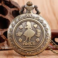 Wholesale Pocket Watch Alice - Wholesale-Classic Alice in Wonderland Rabbit Flower Pocket Watch Necklace Pendant Women Ladies Hot Quartz Retro Bronze Fashion Chain Gift