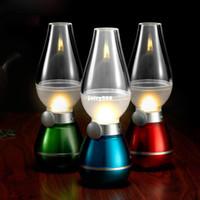 UK usb desk led - New LED Blow Light Table Light Desk Lamp Vintage Kerosene Lamp Style Adjustable Energy-saving USB Rechargeable Light