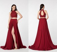 Wholesale High Open Side Dresses - 2017 Side Split Red Two Pieces Prom Dresses Crystal Beads High Neck Open Back Ruched Dresses Evening Wear Formal Gowns Runway Fashion