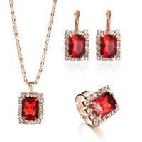 Wholesale Purple Cubic Zirconia Necklace - Newest Wedding Gift Square Crystal Earrings Short Necklace Adjustable Rings Jewelry Set Fashion Jewelry for women
