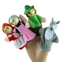 Wholesale Doll Hoods - Wholesale-Niosung New 4PCS Set Little Red Riding Hood Christmas Animal Finger Puppet toy Educational Toys Storytelling Doll