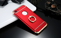 iphone etuis apfel logo loch großhandel-3 in 1 Combo Fingerring 360 Grad Für iPhone 7 7 Plus Luxus Halter Stehen Rüstung Fall Für iPhone 7 Plus Abdeckung Logo Löcher