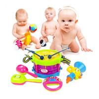 Wholesale Toy Trumpet Wholesale - 5pcs Kids Toys Plastic Roll Drum Trumpet Cabasa Handbell Musical Instruments Band Kit Children Baby Toys Gift Set