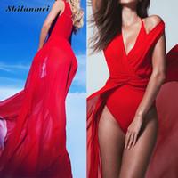 Wholesale Long Sleeve Tunics Wholesale - Wholesale- Beach Dress Tunic Red Bohemia largo Bathing Suit Women Femme Summer Swimwear Cover Ups White Long Maxi Vestidos de playa 2017