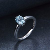 Hutang 1.08ct Aquamarine Natural Sólido 925 Sterling Silver Solitaire Ring Gemstone Fine Engagement Wedding Jewelry atacado