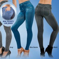 Wholesale Slim Girls Sexy Leggins - Wholesale- Plus Size Women Slim Leggings Jeans Woman Jeggings Fitness Black Sexy Disco Pants Girls Leggins With 2 Real Pockets