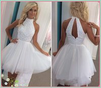 Wholesale Party Dresses For Teenage Girls - 2017 Cheap White Pearls Homecoming Dresses Halter Sleeveless Open Back Tulle Prom Party Gowns Evening Wear For Teenage Girls Cocktail Gowns