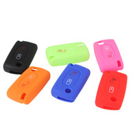 Wholesale Peugeot Silicone - Wih Emblems Silicone Folding Key Case Remote Cover 2 Buttons for Peugeot 208 207 3008 308 RCZ 408 2008 407 307 AUP_40J