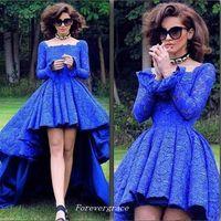 ingrosso abiti colore blu reale-Royal Blue Colour Square Neck Manica lunga Prom Dress High Low Lace Garden Dubai Women Wear Special Occasion Cheap Party Dress Plus Size