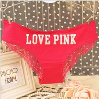 Wholesale Thinnest Lingerie - Women PINK Series Lace Panties Underwear Summer Thin Women's Briefs Sexy Lingerie Intimates M L Size Free Shipping