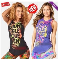 Wholesale Racerback Tank Tops - woman vest tops Tank yoga tops Queen Of The Jungle High Neck Tank racerback black purple