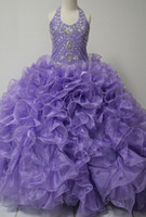 Wholesale Lime Green Organza Girls Dress - Purple Girl Pageant Dresses 2017 Ball Gown with Ruffles Organza Skirt and Beaded Halter Neck Real Pictures Lime Girls Prom Dress Custom Made