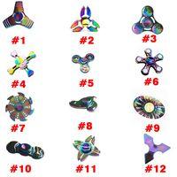 Wholesale Rainbow Choice - 2017 New Twelve Types Fidget Spinner EDC Hand Spinner Fidget Toy Good Choice For decompression Anxiety Finger Toys Rainbow Color Aluminum